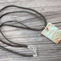 Handcrafted Ceramic Pendant on Double Strand Leather Chain
