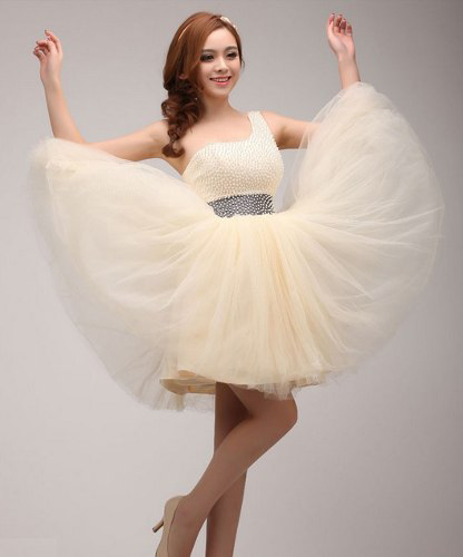 Champagne homecoming dress, one shoulder prom dress, beading prom ...
