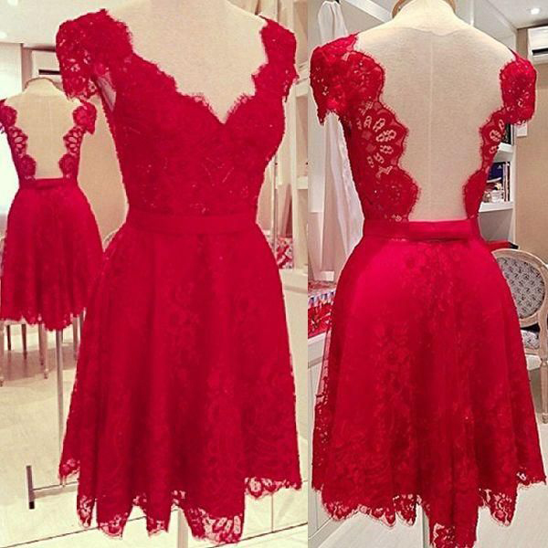 Red Lace Homecoming Dress A-line Cap Sleeve Open Back Short Prom ...