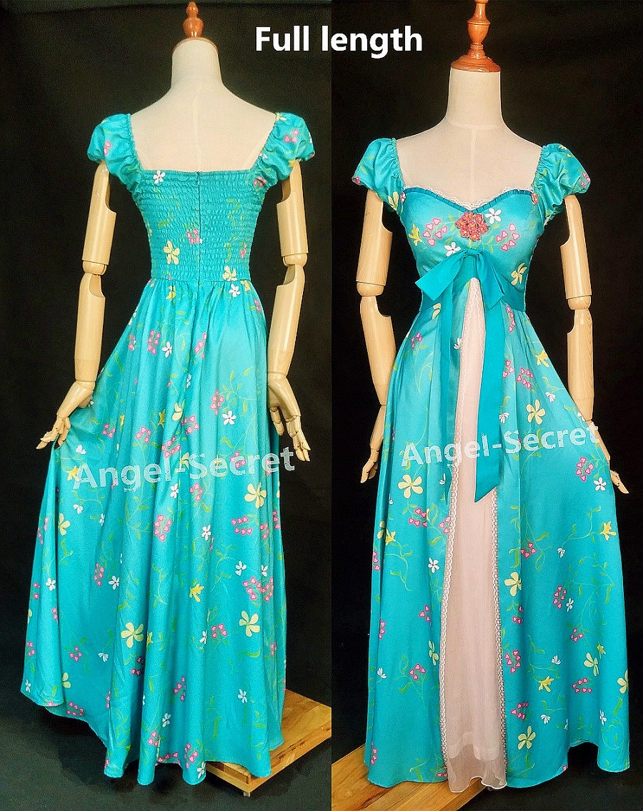 J230 Women Curtain Dress Giselle Cosplay Enchanted Teal