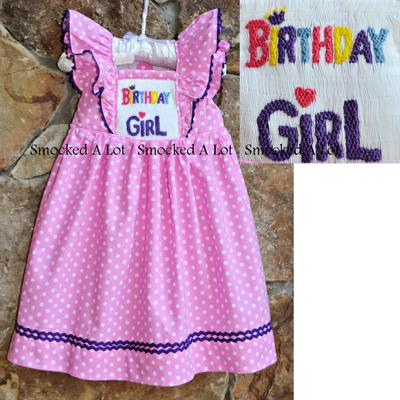 """birthday girl"" smocked flutter dress"