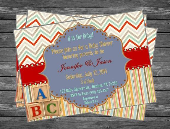 Abc Blocks Baby Shower Invitation Invitations More By Terra S