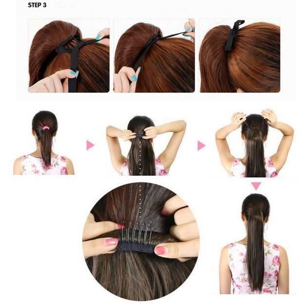 Long Straight Ponytails Synthetic Hair Extension Wigs Daisy Dress