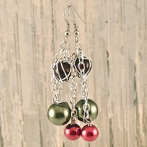Green and Red Pearl Caged Seedling Earrings
