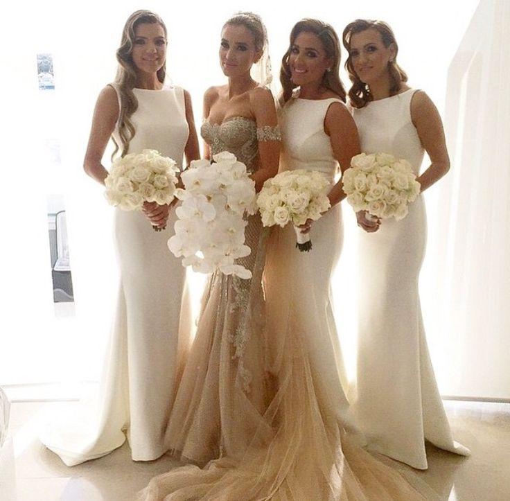 long bridesmaid dress, white bridesmaid dress, mermaid bridesmaid ...