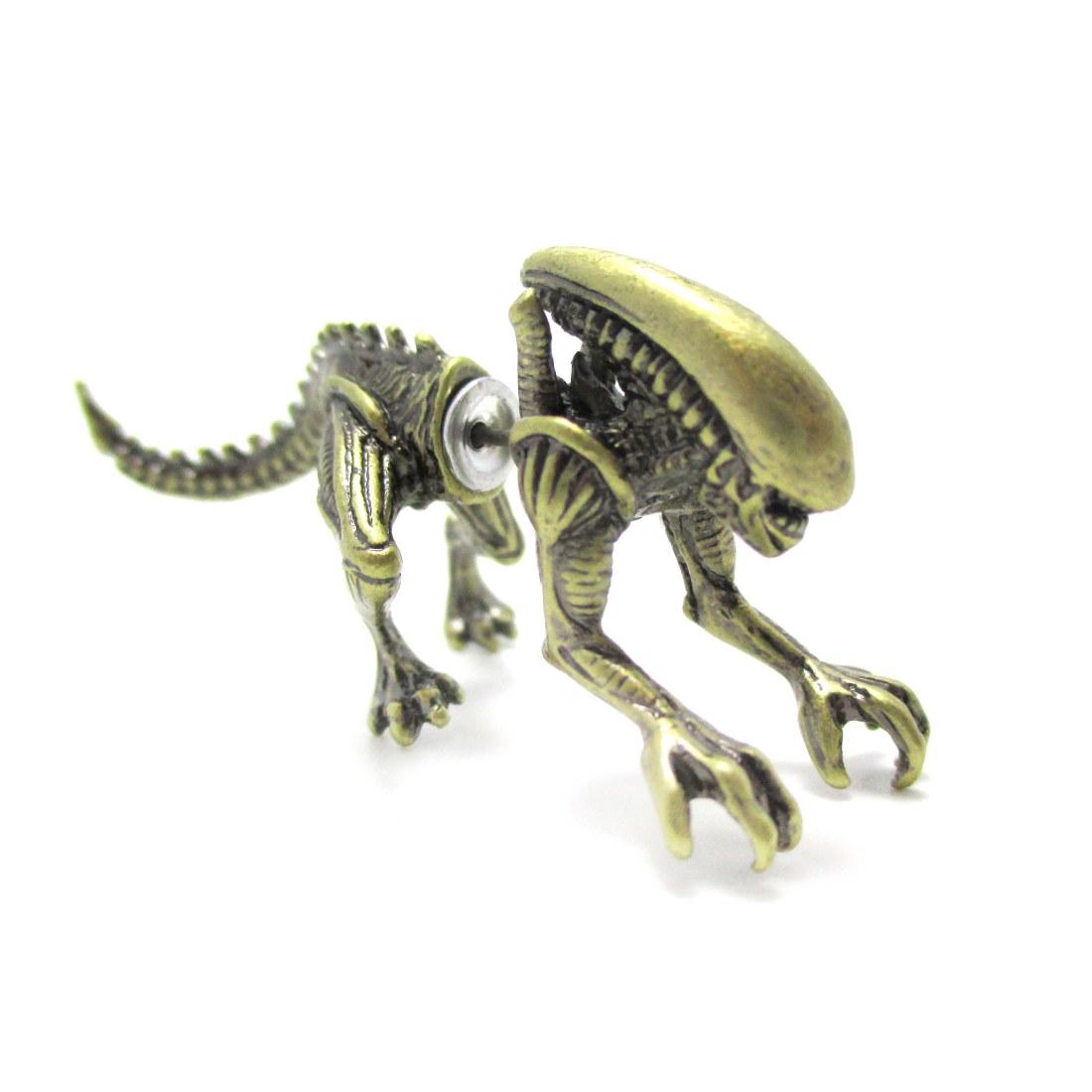 Predator Avp Xenomorph Shaped Front And Back Stud Earrings In Brass