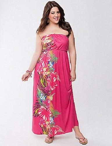 Lane bryant plus size pink floral print strapless maxi for Lane bryant wedding dress