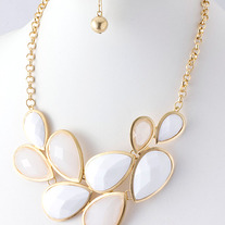 Teardrop Jewel Link Fashion Necklace & Earring Set Gold