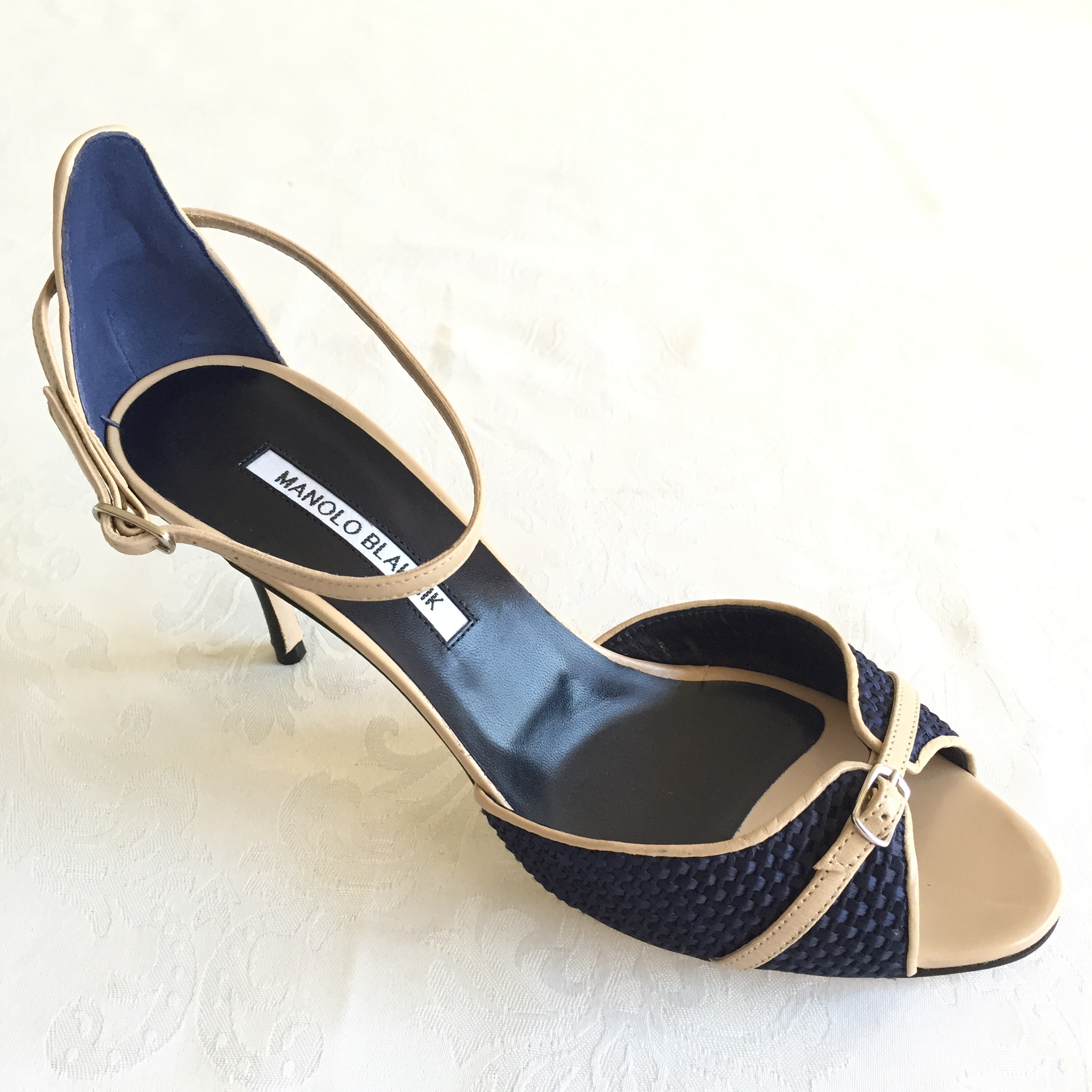 Manolo blahnik navy tan open toe ankle strap heels for Scarpe manolo blahnik shop on line