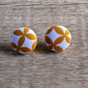 Button Earrings - Yellow Butterfly