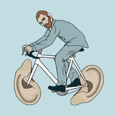 Vincent van gogh riding bike with severed left ear wheels 5x5 print