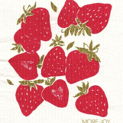 Strawberry, finnish dish towel (sponge cloth)