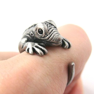 Miniature Iguana Chameleon Animal Wrap Ring in Silver Sizes 5 - 9 US Available