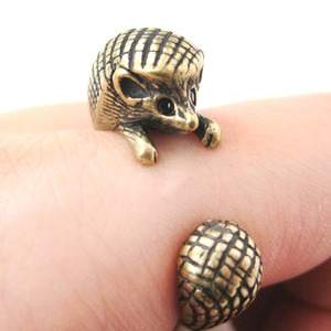 3D Realistic Hedgehog Animal Wrap Ring in Bronze Sizes 4 to 9 US Available