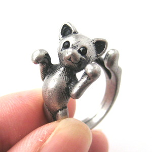 3D Realistic Two Tailed Kitty Cat Animal Ring Sizes 5 to 9 Available