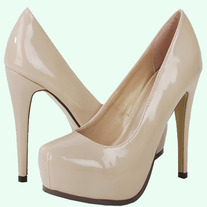 NIB Nude Patent Hidden Platform High Heel Pumps (Similar to Brian Atwood Pumps)