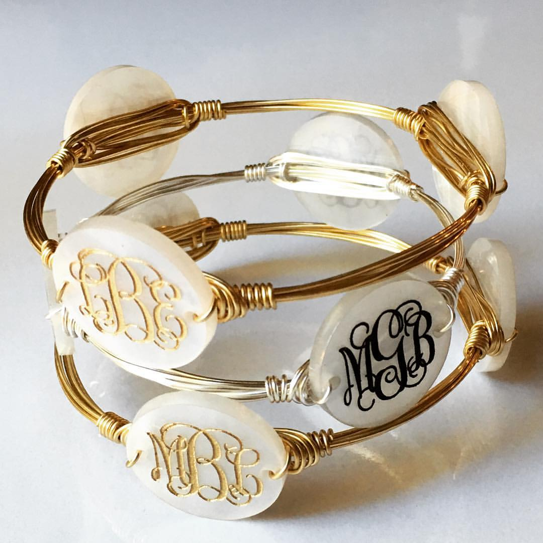 Triple Monogram Bangle Wire Bracelet w/ Engraved Acrylic Monogram ...