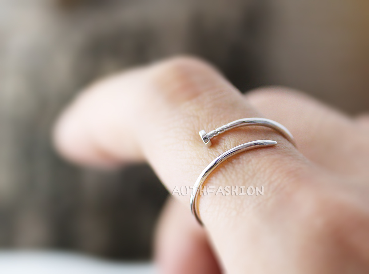 simple slim nail ring unique ring jewelry silver