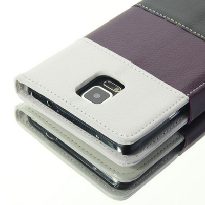 Galaxy note 5 - thinline pu leather wallet card case in two-tone pattern