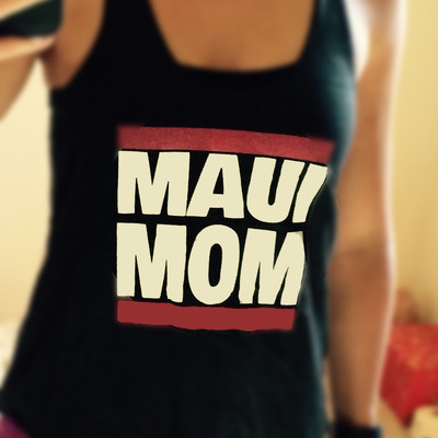 "Women's ""maui mom"" tri-black racerback tank-top, made in usa"