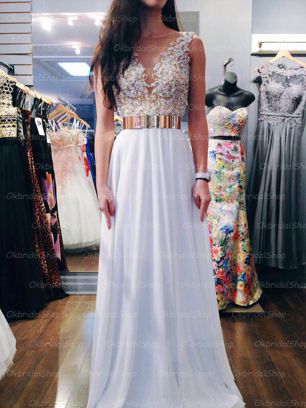 White prom dress, beaded prom dress, long prom dress, 2015 prom ...