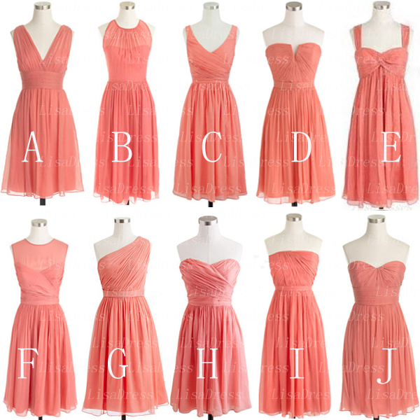 Coral Bridesmaid Dress Short Bridesmaid Dress Mismatched