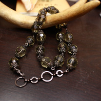 Grey Lanterns Smokey Quartz Necklace