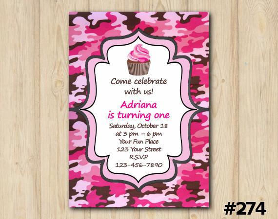 Pink Camo Birthday Invitation 274 Diy Party Printables Online