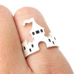 Fairy Tale Storybook Castle Cut Out Shaped Ring in Silver | Size 6.5