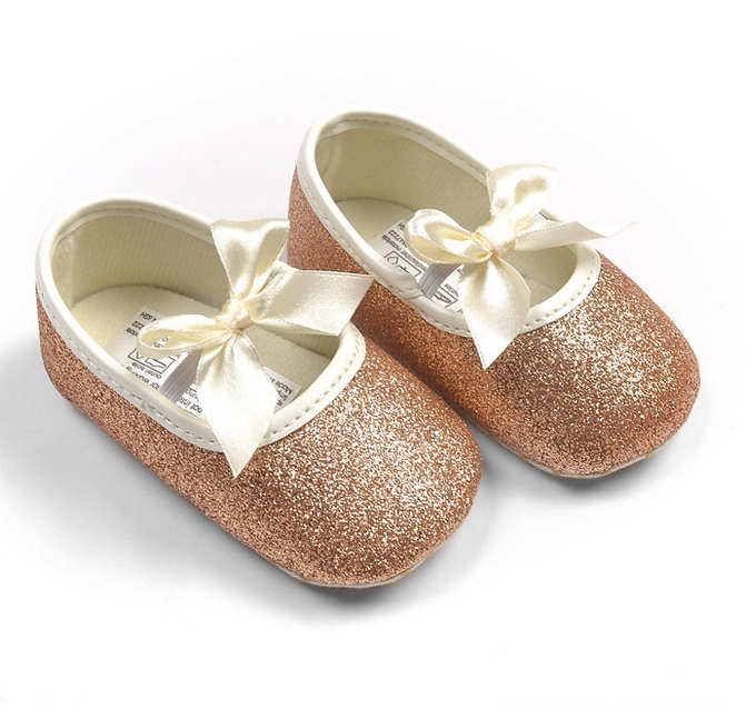 Gold Sparkly Glitter Baby Crib Shoes Kids Boutique