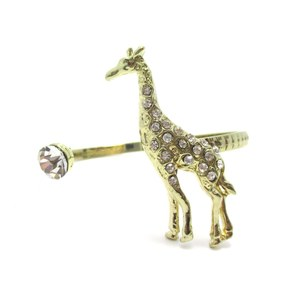 Giraffe Shaped Animal Inspired Open Bangle Bracelet in Gold with Rhinestones
