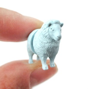 Fake Gauge Wooly Sheep Shaped Front Back Plug Stud Earrings in Light Blue