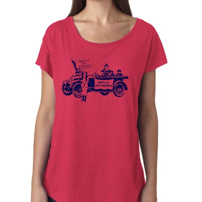 "Feminist tshirt: ""equality is not a feeling"" suffragette shirt (vintage style, vintage red) by fourth wave feminist apparel (great gift!)"