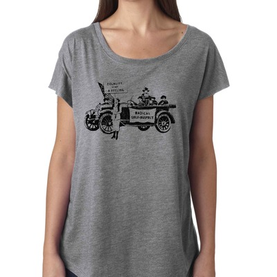 "Feminist tshirt: ""equality is not a feeling"" suffragette shirt (vintage style, gray) by fourth wave feminist apparel (great gift!)"