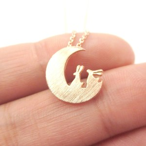 Bunnies on the Moon Rabbit Shaped Silhouette Charm Necklace in Rose Gold