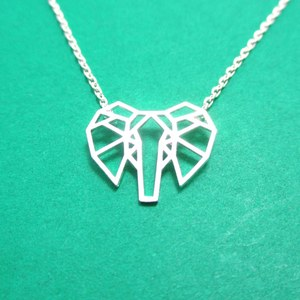 Elephant Origami Face Outline Shaped Charm Necklace in Silver