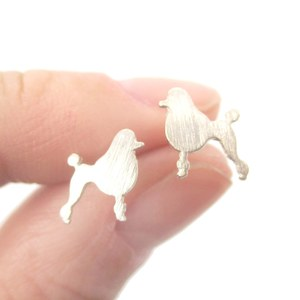 Small French Poodle Shaped Dog Themed Stud Earrings in Silver