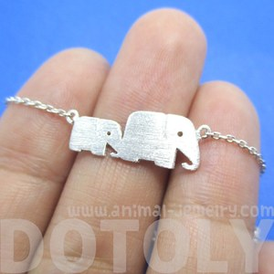 Classic Elephant Mother and Baby Family Charm Bracelet in Silver