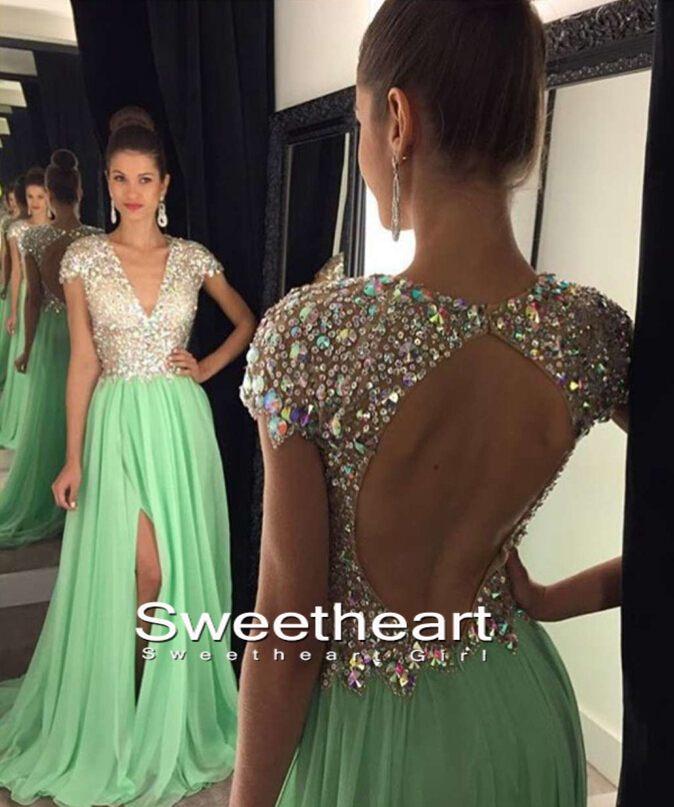 Sweetheart Girl A Line V Neck Sequin Backless Long Green Prom