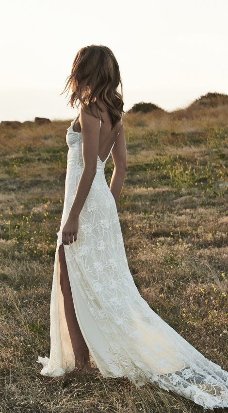 Boho backless wedding dresses front split romantic off shoulder boho backless wedding dresses front split romantic off shoulder ivory lace beach wedding dress bling brides junglespirit Gallery