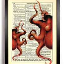 Image of Octoparty, Vintage Dictionary, 8 x 10