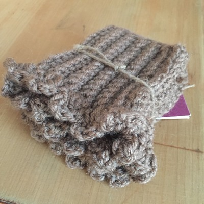 Brown youth boot cuffs