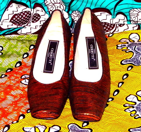 Vintage Italian Striped iridescent orange and black short heels 38 EU / 6.5 - 7 US