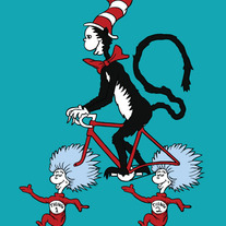 Cat in the hat riding bike with Thing 1 and Thing 2 wheels, 5x7 print