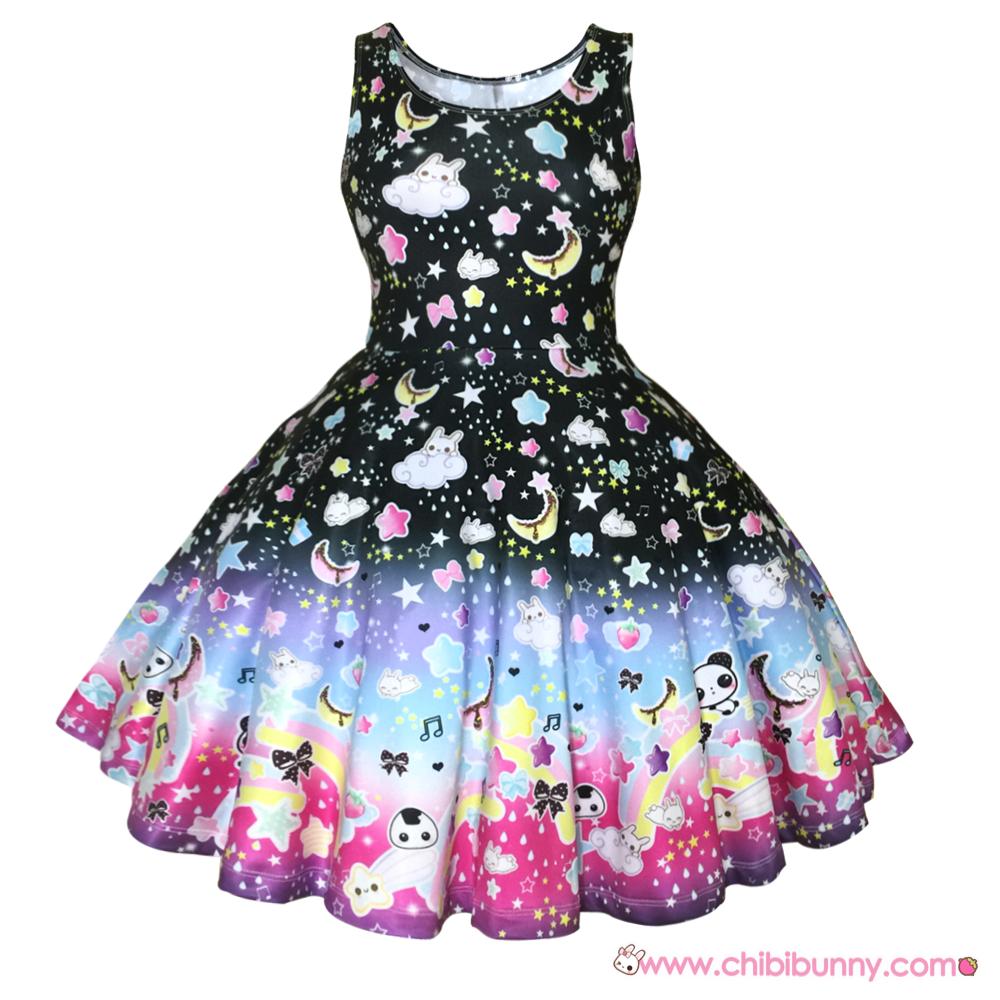 Over the rainbow (Black) - Cute kawaii skater dress and ...