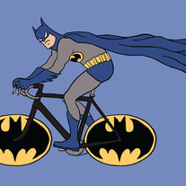 Batman on a bike with Batman logo wheels, 5x7 print