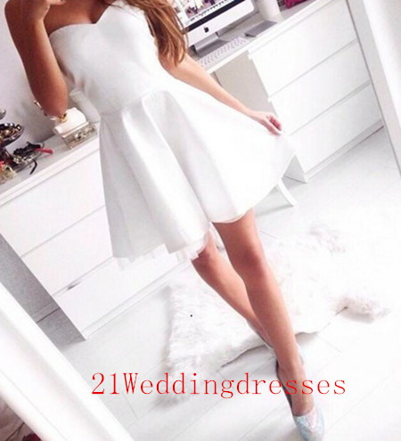 Simple Short Prom Dresses,White Prom Dresses,Sweetheart Prom Dresses ...