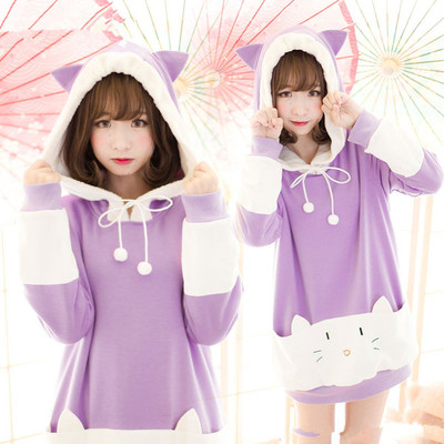 "S/m/l [the ""hentai"" prince and the stony cat] tsukiko cat ear fleece hoodie jumper sp154329"