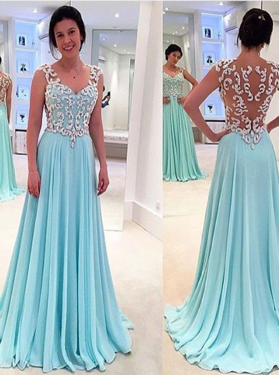 New Design Blue Prom Dresses,Long Chiffon Prom Dresses,Real Beautiful  Evening Dresses,