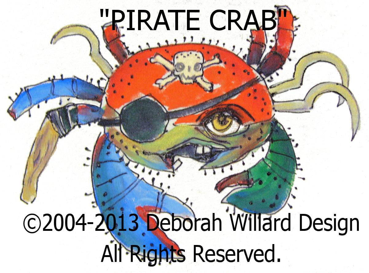 pirate crab t shirt for kids deborah willard design online store